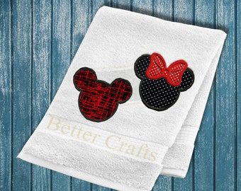 Buy 1 GET 2, Mickey and Minnie mouse embroidery design set, machine embroidery applique design