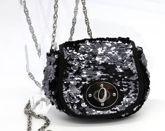 Black Sequenced Evening Purse
