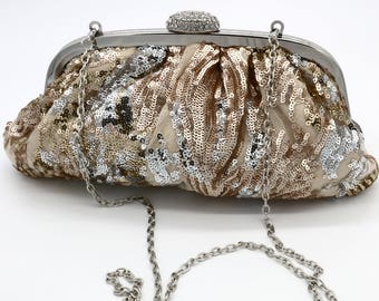 Gold and Silver Sequenced Evening Purse