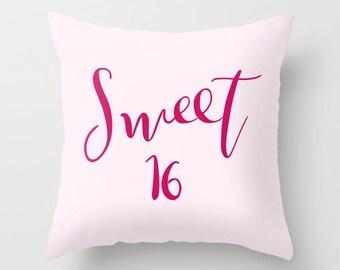 Sweet Sixteen 16 Throw Pillow -  Pink throw pillow, rectangle,  girlie gift for teen,   home, decor, designer