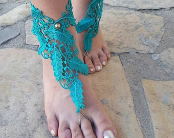 Green lace Barefoot sandals..French lace  Barefoot sandals beachBarefoot sandals..bridesmaid gifts..bridal barefoot sandals lace anklet
