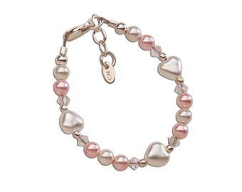 Sterling Silver Pink and White Swarovski Pearl Bracelet with Pearl Heart Comes in  Gift Box for Girls (Sweetheart)