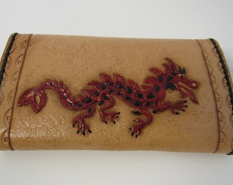 Vintage Hand Tooled Leather Dragon Wallet