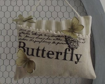 Door shabby chic butterflies and French ticking cushion