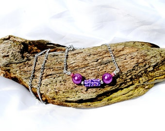 Purple  beaded  silver summer  necklace stunning and  unique