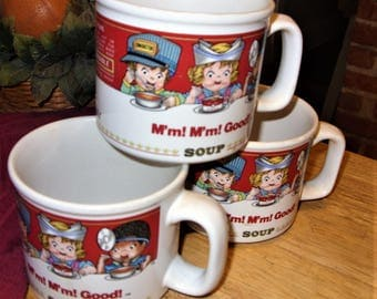 3 Campbell Soup Mugs, Westwood 1993 Campbell Soup Cups
