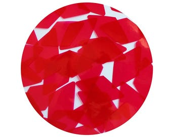 Diamond Vinyl Shape Top Hole 1.5 inch Raspberry Pink Go Go Transparent