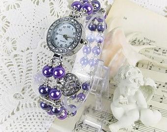 Wrist watch quartz watch bracelet ladies watch beads Crystal Rondelles