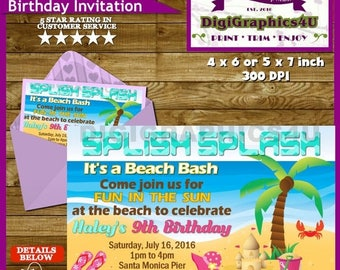 Beach Party, Fun in the Sun Birthday Party Invitation - Personalized Printable File