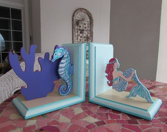 Sea-Creature Bookends, Painted Bookends, Nursery-Decor, Children's Bookends, Mermaid-Seahorse-Bookends, Girls Bookends,Deep-Sea-Bookends