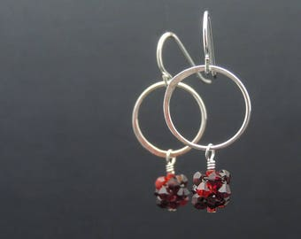 Red Dangle Earrings, Red And Silver Open Circle Earrings, Small Silver Circle Dangle Earrings, Heather Downes Jewelry