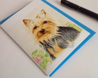 Yorkie Greeting Card,Silver and Tan Yorkie Card, Yorkshire Terrier Card, Dog lLver card,Yorkie Lover Greeting Card