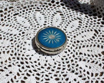 Vintage. Blue/silver/pillbox/pill compact. Great for your purse! Cute! 1960s.
