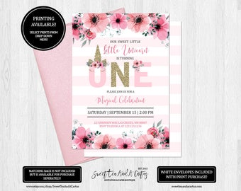Unicorn First Birthday Invitation Girls Party Invites Magical Celebration Fairy Tale Pink Floral Printable Digital File or Prints
