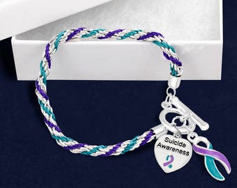 Suicide Awareness Teal & Purple Ribbon Rope Bracelet in a Gift Box (1 Bracelet - Retail) (RE-B-02-32SA)