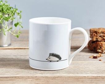 Hedgehog Mug, Fine Bone China Mug, Boxed, Hedgehog Gift, Light Grey and White China Mug