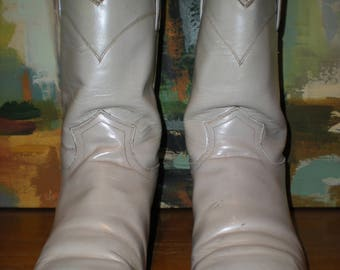 Justin Junior Youth Roper Western Boots Pearl White Size 4D Women's Size 6