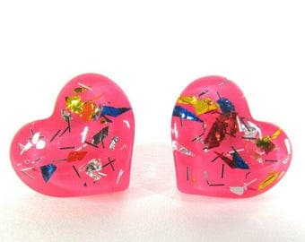 Pink Heart Post Earrings | Glittered Heart Stud Earrings | Heart Earrings