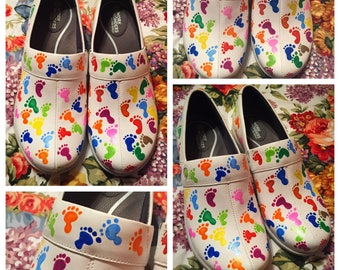 Custom painted Nursing/RN OBGYN/Baby Feet Sanita Clogs. Designed and personalized just for you!