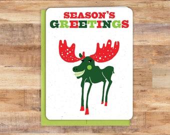 Moose christmas card   Etsy