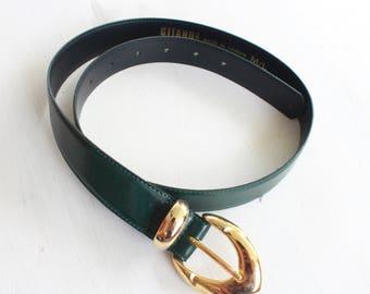 M/L | Vintage Green Belt with golden belt buckle