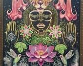 Rain Forest Bloom origibal visionary mystic painting art