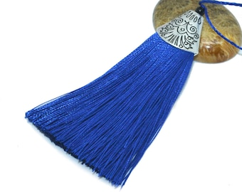 Large tassel 08cm royal blue polyester with Silver Cup