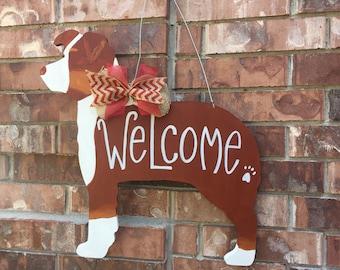 Australian shepherd door hanger, dog door hanger, aussie door hanger, dog wreath, dog decor, dog mom decor, aussie decor
