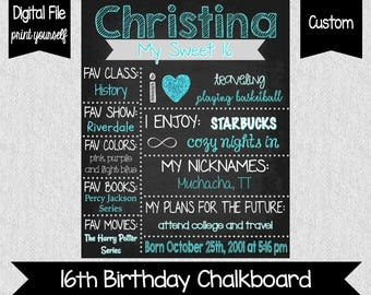 Sweet 16 Chalkboard File - Sweet 16 - Sixteenth Birthday - Girls - Party Decor - SWEET 16 - Teenage Birthday - Printable - Chalkboard Poster