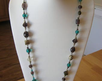 Glass beads & stones vintage necklace, purple and turquoise plus mutli colored stones