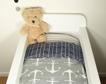 Bassinet gift packge OR bassinet quilt - Grey with white anchors AND navy herringbone