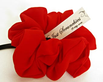 Huge Red Scrunchie - Bright Red Hair Bow - Big Chiffon Scrunchy - Hair Scarf - Gift for Her - Hair Ties and Elastic