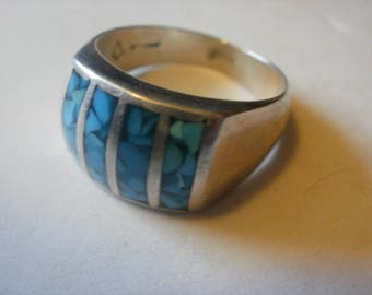Artist Marked South Western Sterling Turquoise Ring-9