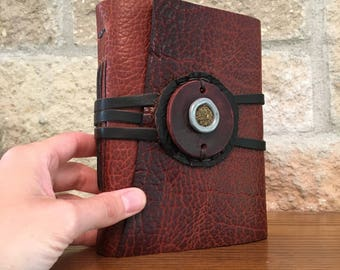 Handmade Leather-Bound Journal with Cast African Wedding Ring