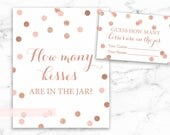 Guess How Many Kisses in the Jar Printable Sign and Cards, Rose Gold Confetti, Rose gold blush shower, DIY, INSTANT DOWNLOAD, 005