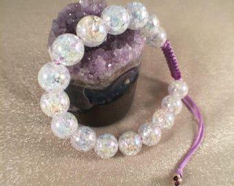 Glass beaded rainbow iridescent knotted bracelet