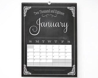2018 Wall Calendar, 11x14, Wall Calendar, Chalkboard Wall Planner (cal0017)