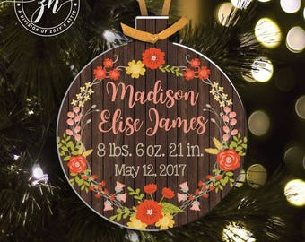 Personalized birth statistics flower wreath birth announcement Christmas ornament MPRO-002