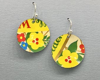 Yellow Floral Recycled /Upcycled Tin Dangle Earrings