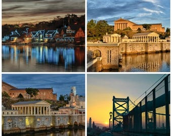 ON SALE Philadelphia Prints, Discounted Set of 4, Photography, Philly Photo Set, Boat House Row, Art Museum, Waterworks, Ben Franklin Bridge
