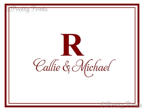 Couple Note Cards - Initial - Note Cards - Personalized Stationery, Notecards, Custom Note Cards, Thank You Notes - Monogrammed Cards