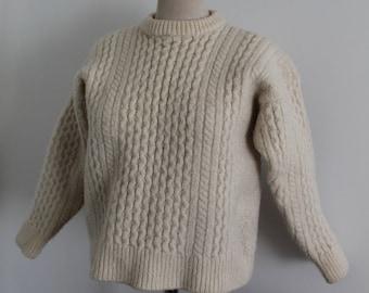 Cream Merino Wool Callan Aran Irish Cable Knit Pullover Sweater