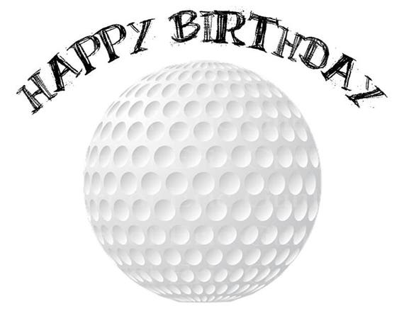 Golf Ball Happy Birthday - Edible Cake and Cupcake Topper For Birthday's and Parties! - D22752