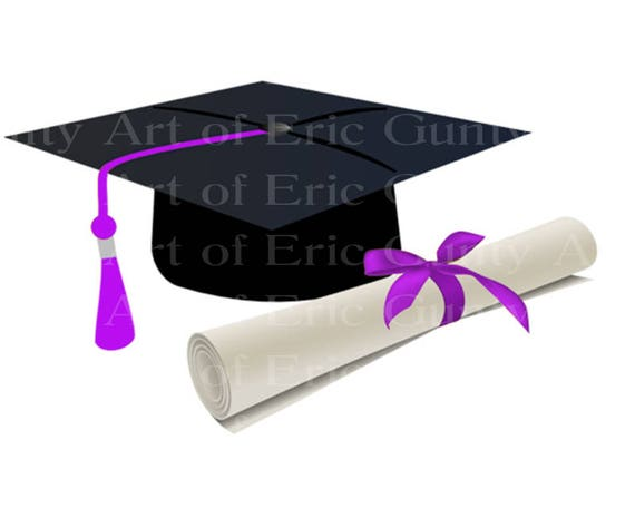 Purple Graduation Cap & Diploma - Edible Cake and Cupcake Topper For Birthdays and Parties! - D22883