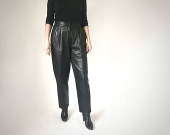 Vintage 80s Leather Pants, Black Leather Womens Pants, Baggy Pants, Pleated Leather Pants, High Waisted Leather, Soft Leather Trousers