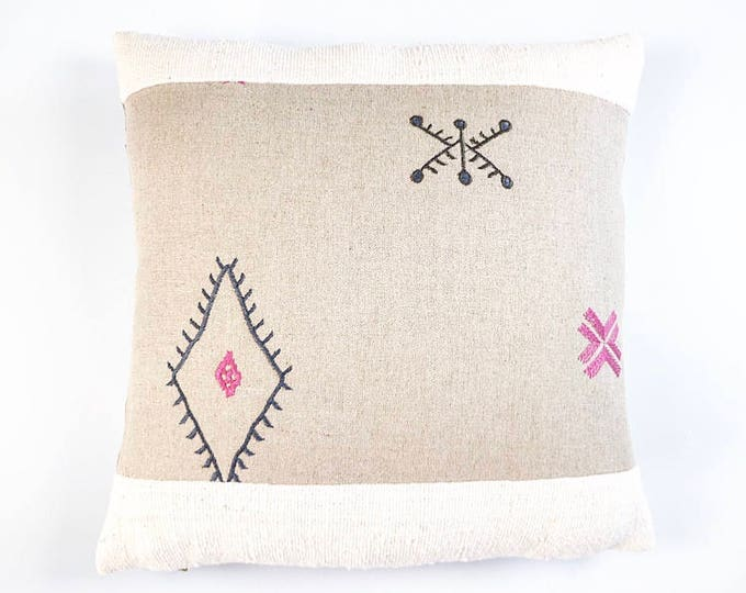 READY TO SHIP Embroidered Flax Linen Moroccan Textile And African Mudcloth Pillow Cover Various Sizes