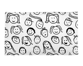 Kids Smiling Faces Cover - Funny Faces Rectangular Pillow Case only