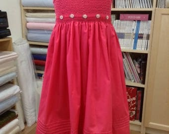 Hand Smocked cerise summer dress