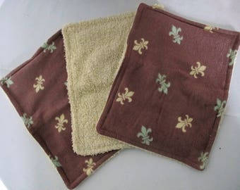 Kitchen Wipes X 3 Unpaper Towels Recycled fabric ALL COTTON Use & Wash Brown Upcycled Flannelette Towel Towelling