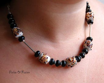 Lampwork Glass Beads necklace * art * Black/Brown/amber - collar necklace winter murano glass beads handmade